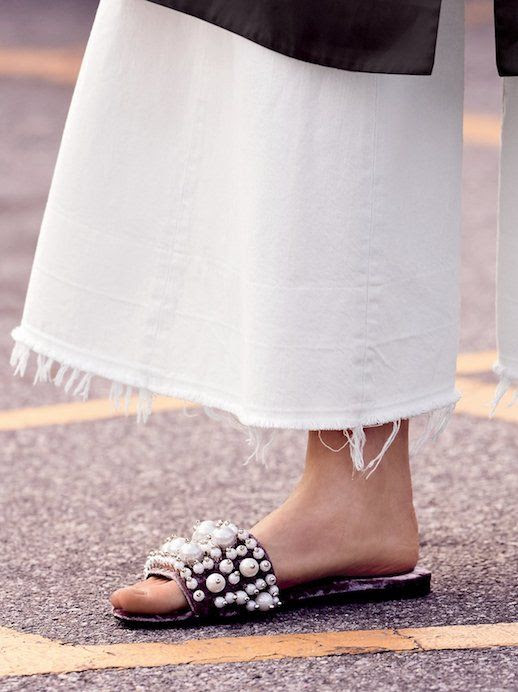 Spring Summer Style Miu Miu Pearl Embellished Velvet Sandals Faux Shearling Free People Pixie Pearl Slide Le Fashion Blog
