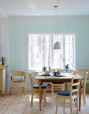 Benjamin Moore In Your Eyes - Blue/gray/green that looks fresh and not too overwhelmingly blue. Used in living room with Simply White trim.
