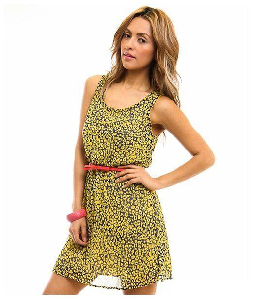 G2 Chic Women's Leopard Chiffon Dress with Matching Belt(DRS-CAS,YEL-M)