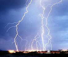 Multiple lightning strikes on a city at night