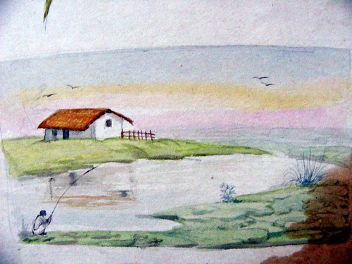 water colour solitary house