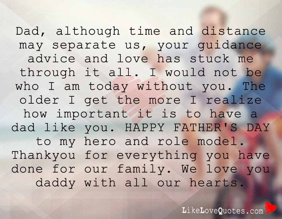 Dad Although Time And Distance May Separate Us Likelovequotescom