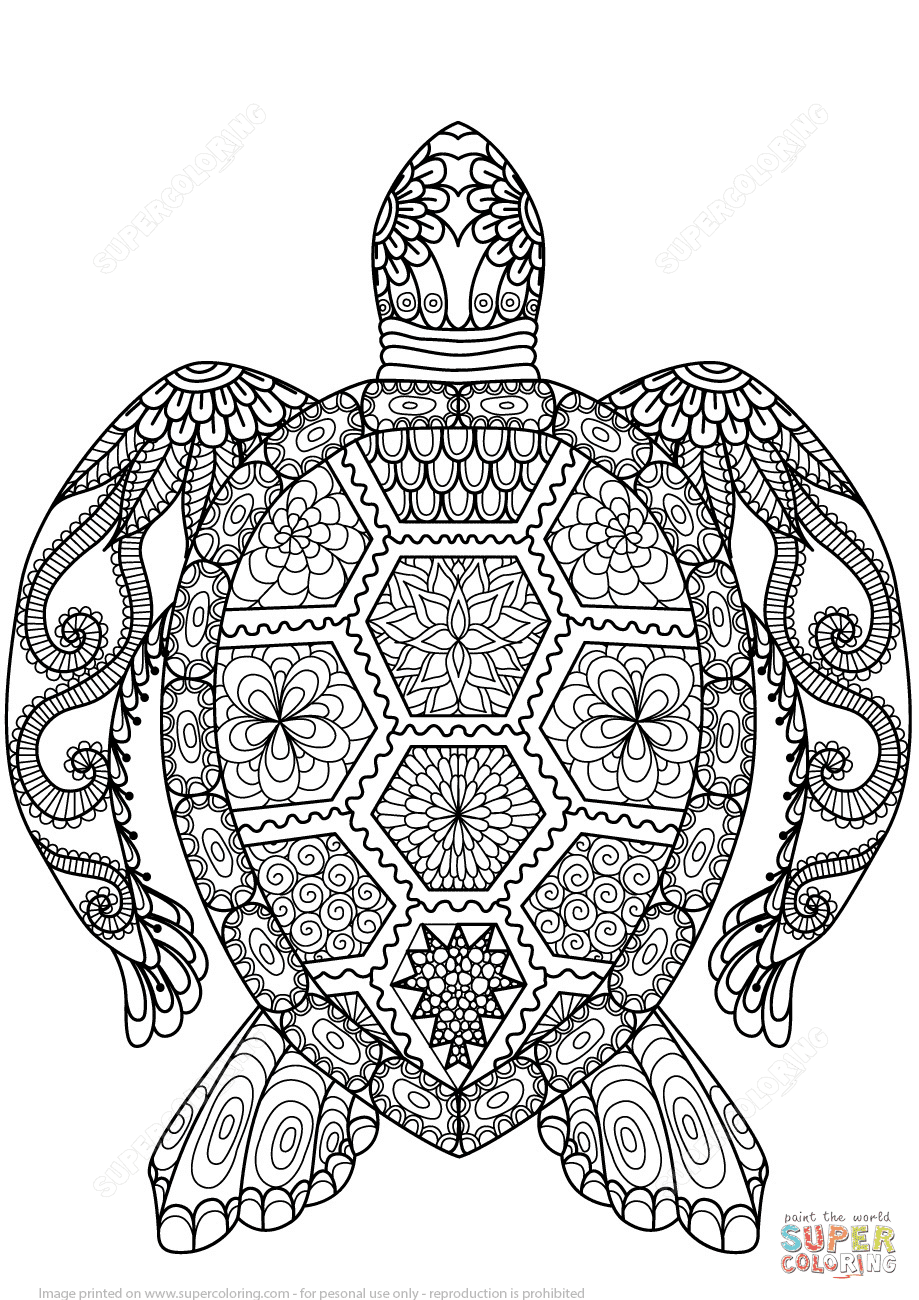 Dibujo De Tortuga Zentangle Para Colorear Dibujos Para Colorear