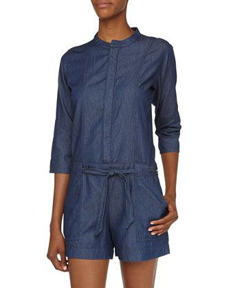 Fade to Blue Chambray Belted Jumpsuit