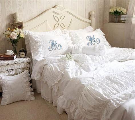 Luxurious Ruched Ruffled Lace & Eyelet Duvet Bedding