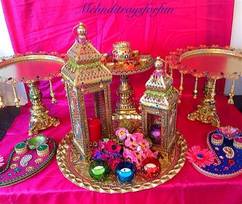 Moroccan themed mehndi plates and lanterns collection.See