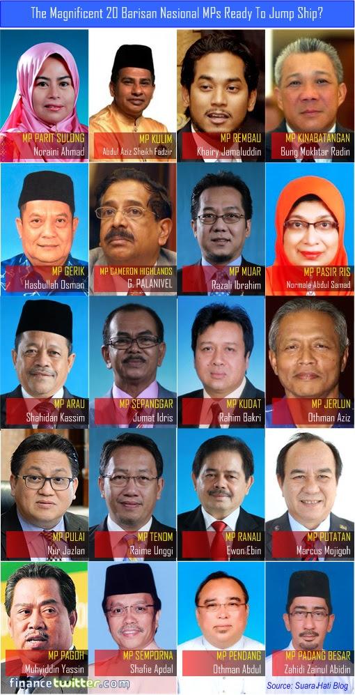 Twenty 20 Magnificent Barisan Nasional MPs Ready to Jump Ship