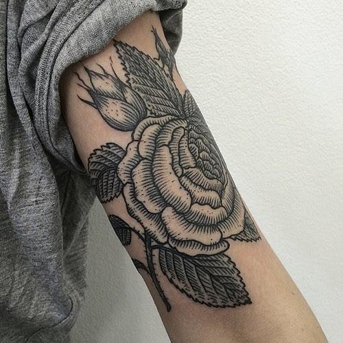 Black Rose Tattoo On Upper Arm Best Tattoo Design Ideas