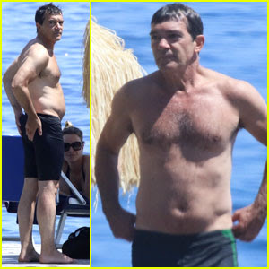 Antonio Banderas Flaunts Shirtless Body at 56 After Heart Attack