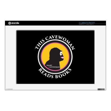 "13"" Laptop Mac/PC Skin Smart Cavewoman Reads Books Skins For Laptops"