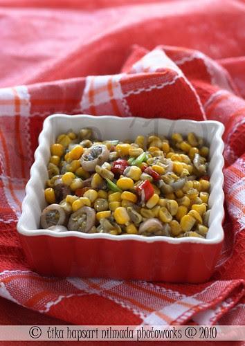 (Homemade) Tumis jagung-cumi asin / Sweet corn with salted squid stir fry