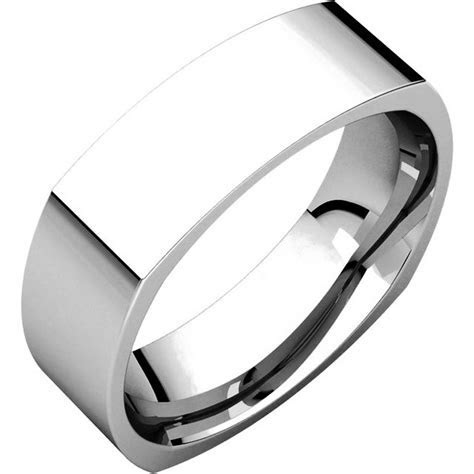 C131621W 14K White Gold 6mm Wide Square Mens Wedding Band