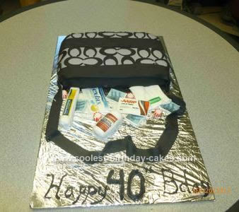 Homemade 40th Birthday Purse Cake