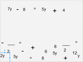 Starting with a multi-step equation with components in text boxes.