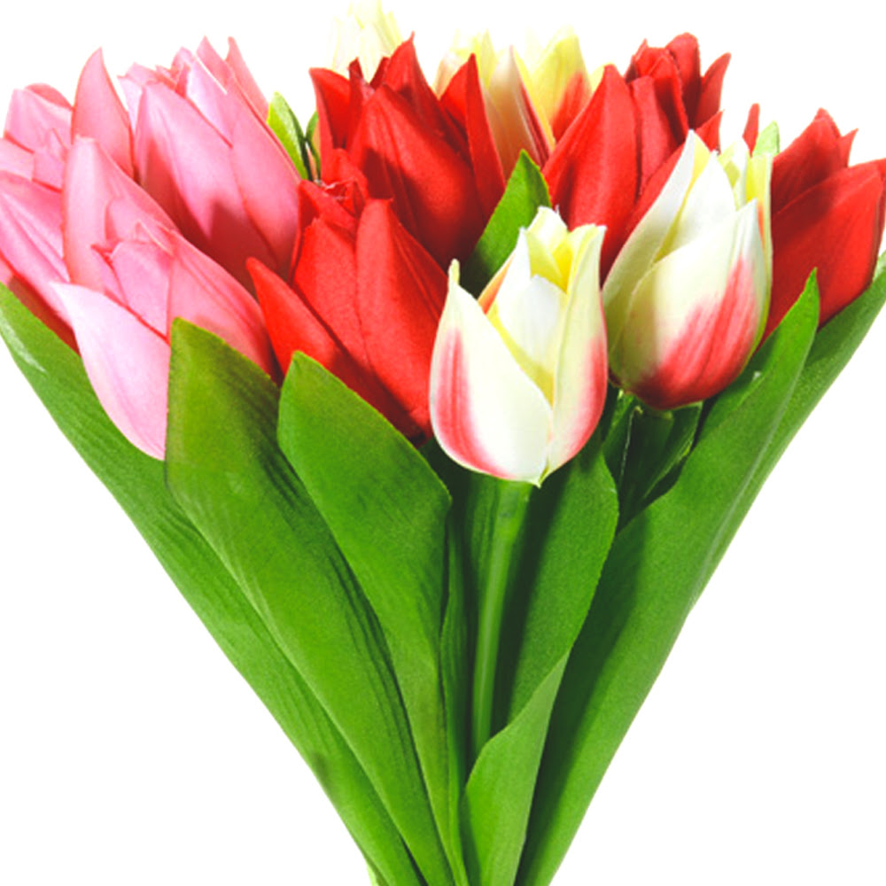 Artificial Tulips Red Pink Cream Mix x15 Stems   Shelf Edge