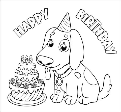 happy birthday with dog coloring page  free printable