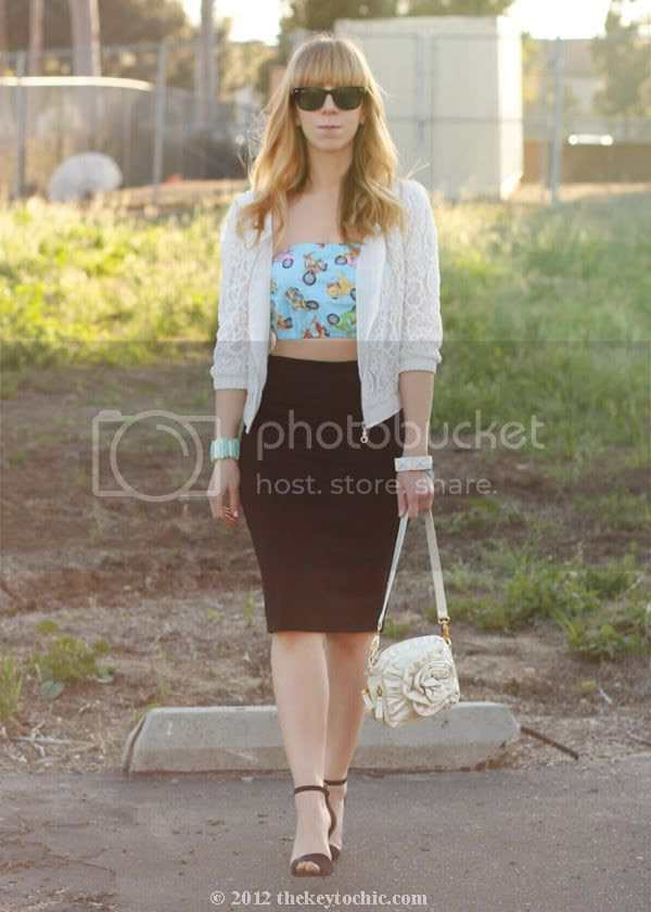 Prada DIY bandeau, Forever 21 lace jacket, pencil skirt, Zara ankle strap heels, southern California style, Los Angeles fashion blog