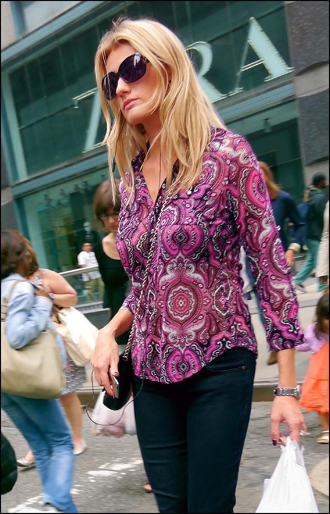 1x 13  blond big sunglasses purple pink black and white print shirt cropped sleeves ol