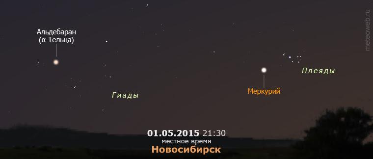 Меркурий вблизи Плеяд на вечернем небе Новосибирска 1 мая 2015 года.
