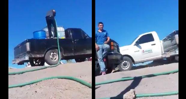 Presunta camioneta de Pemex hace caso omiso de huachicoleros