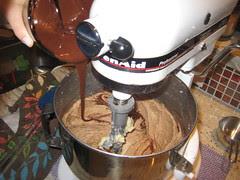 chocolate into mixer