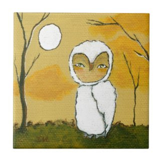 Evening Stroll, Whimsical Woodland White Owl Art Tiles