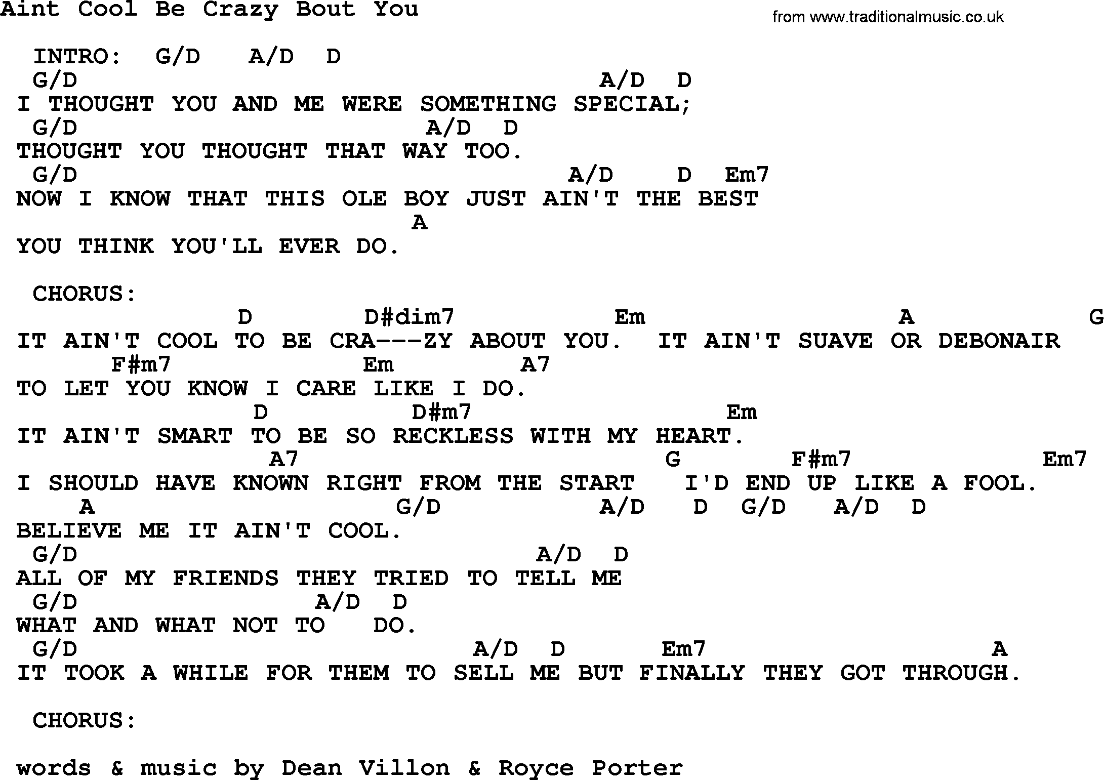 Aint Cool Be Crazy Bout You By George Strait Lyrics And Chords