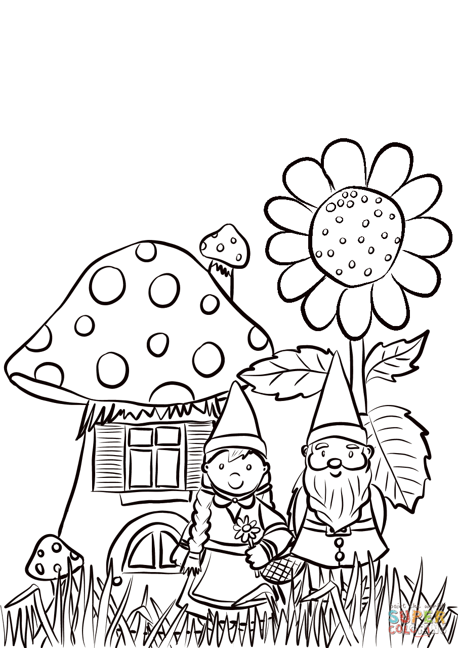 Garden Gnomes Family coloring page   Free Printable ...