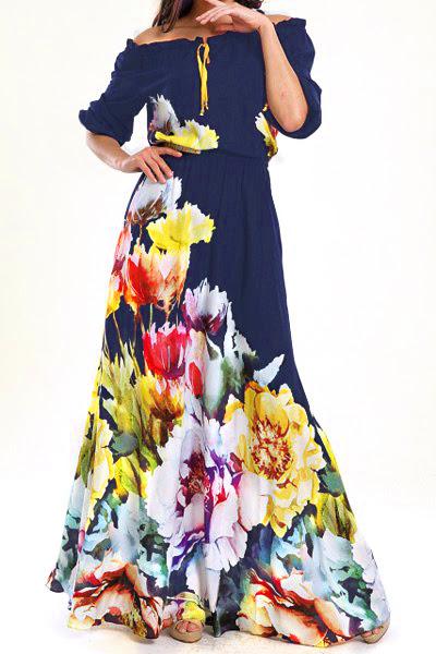 القطع الأزهار الرقبة نصف كم فستان ماكسي