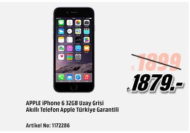 APPLE iPhone 6 32GB Uzay Grisi Akıllı Telefon Apple Türkiye Garantili 1879TL