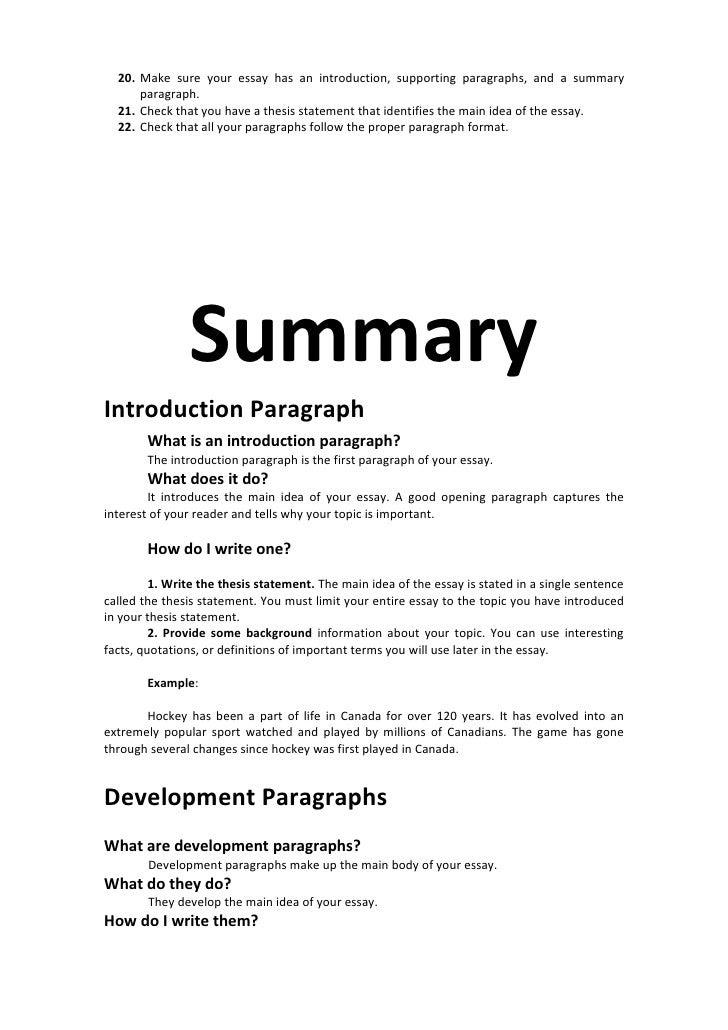 how to write a essay summary