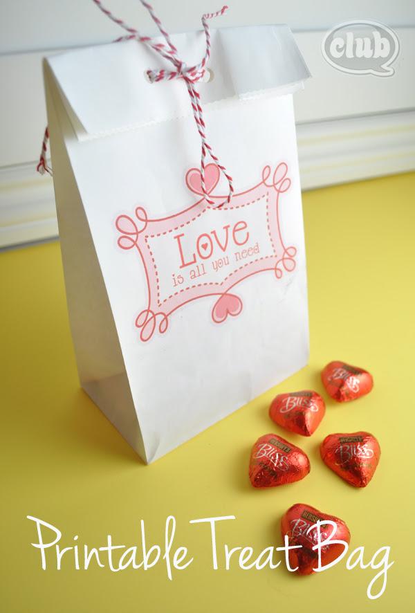 Valentines printable paper bag