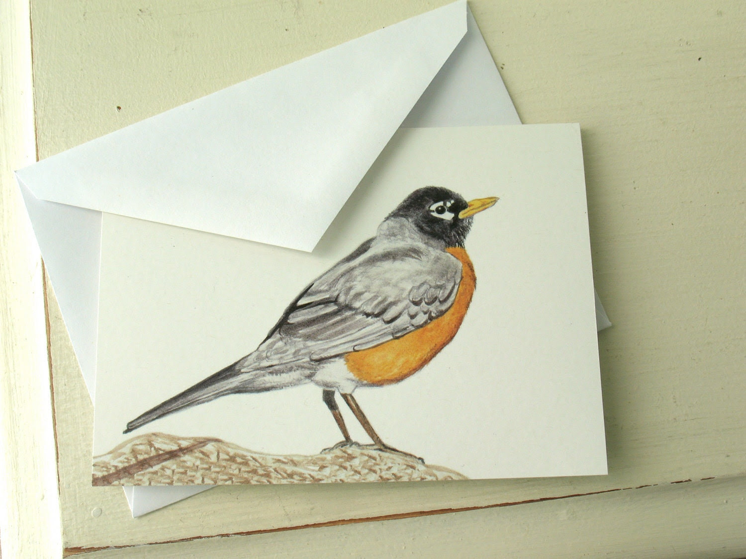 Robin Bird Greeting Card, watercolor print, birthday, thank you, by nancelpancel on etsy - nancelpancel