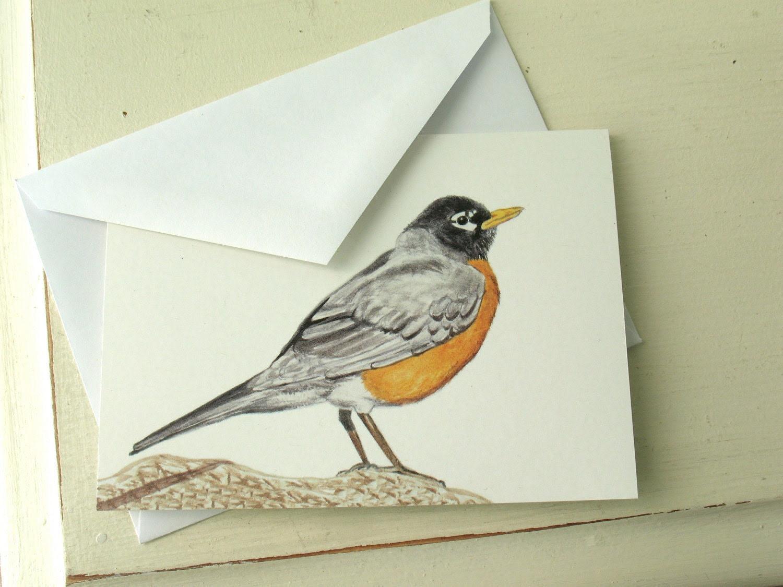 Robin Bird Greeting Card, watercolor print, birthday, thank you, by nancelpancel on etsy - nancelpancel
