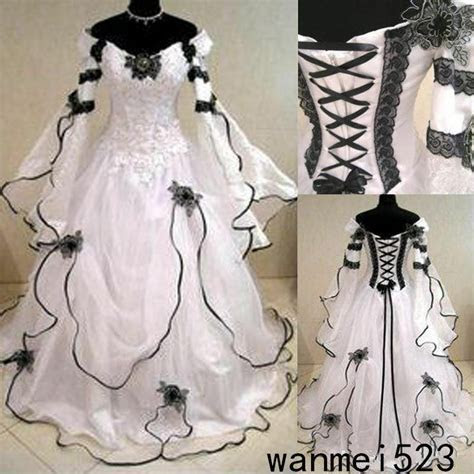 Medieval Black and White Gothic Wedding Ball Gown