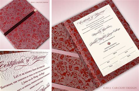 Letterpress Marriage Certificate   Luxury Wedding