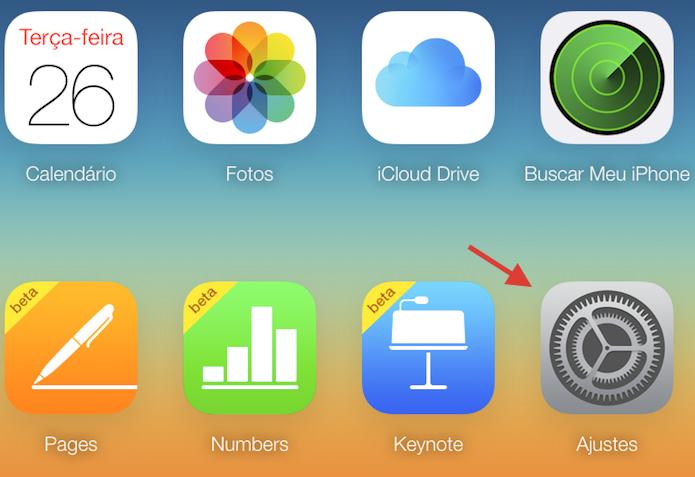 Acessando os ajustes de uma conta do iCloud pelo navegador web (Foto: Reprodução/Marvin Costa)