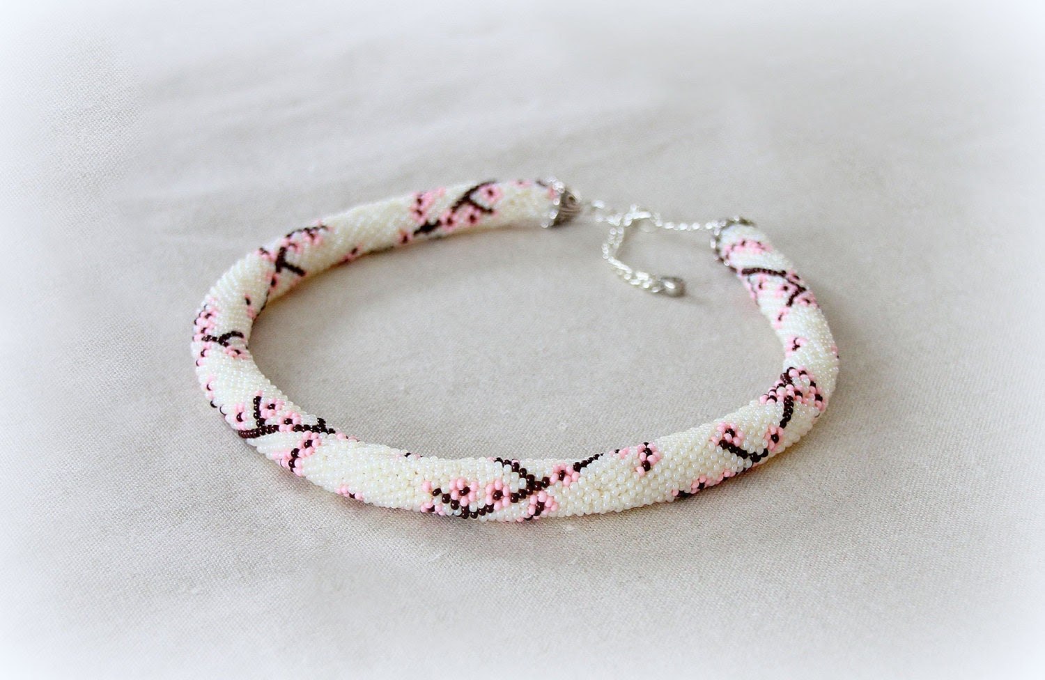 Bead Crochet Necklace sakura ,  pink and white,  Minimalist, Japanese motifs, flower necklace - Nikita551