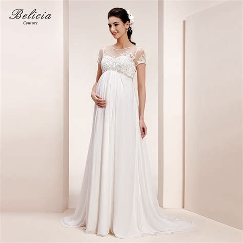 Belicia Couture Maternity Wedding Dress Lace Appliques