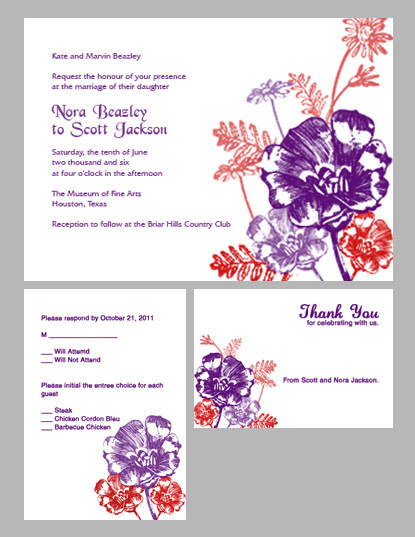 Flowers Wedding Invitation Kit Plum and Red