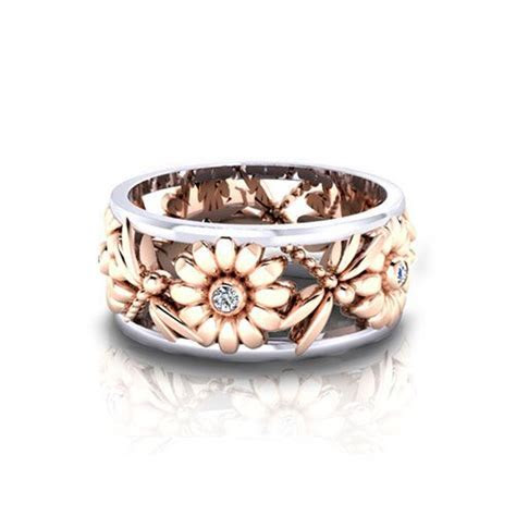 Daisy Dragonfly Wedding Ring   With This Ring   Jewelry