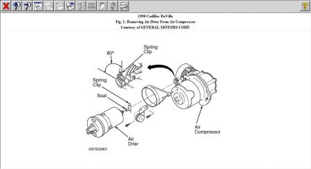1998 Cadillac Deville LOCATION OF THE AIR RIDE COMPRESSOR