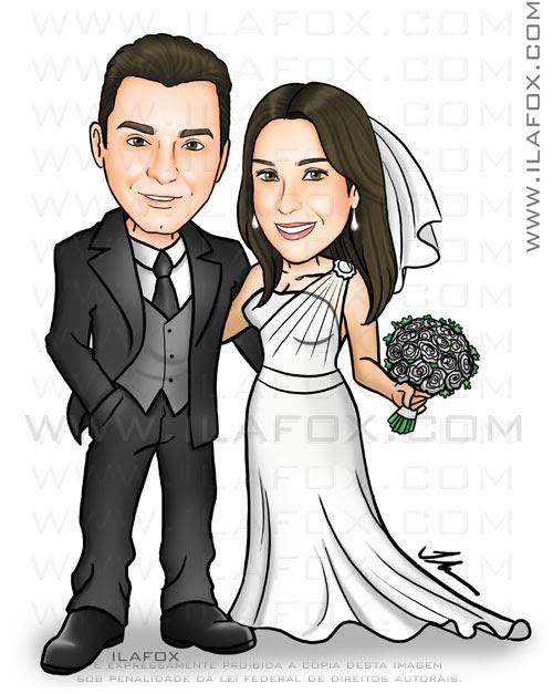 caricatura, noivinhos, corpo inteiro, casal, noiva vestido um ombro só, caricatura para casamento by ila fox