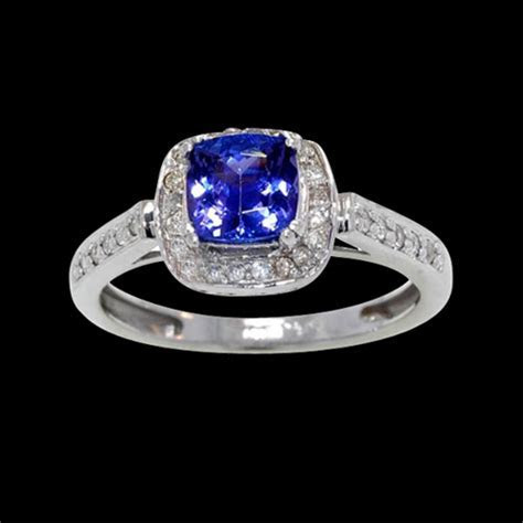 Square Tanzanite Diamond Ring