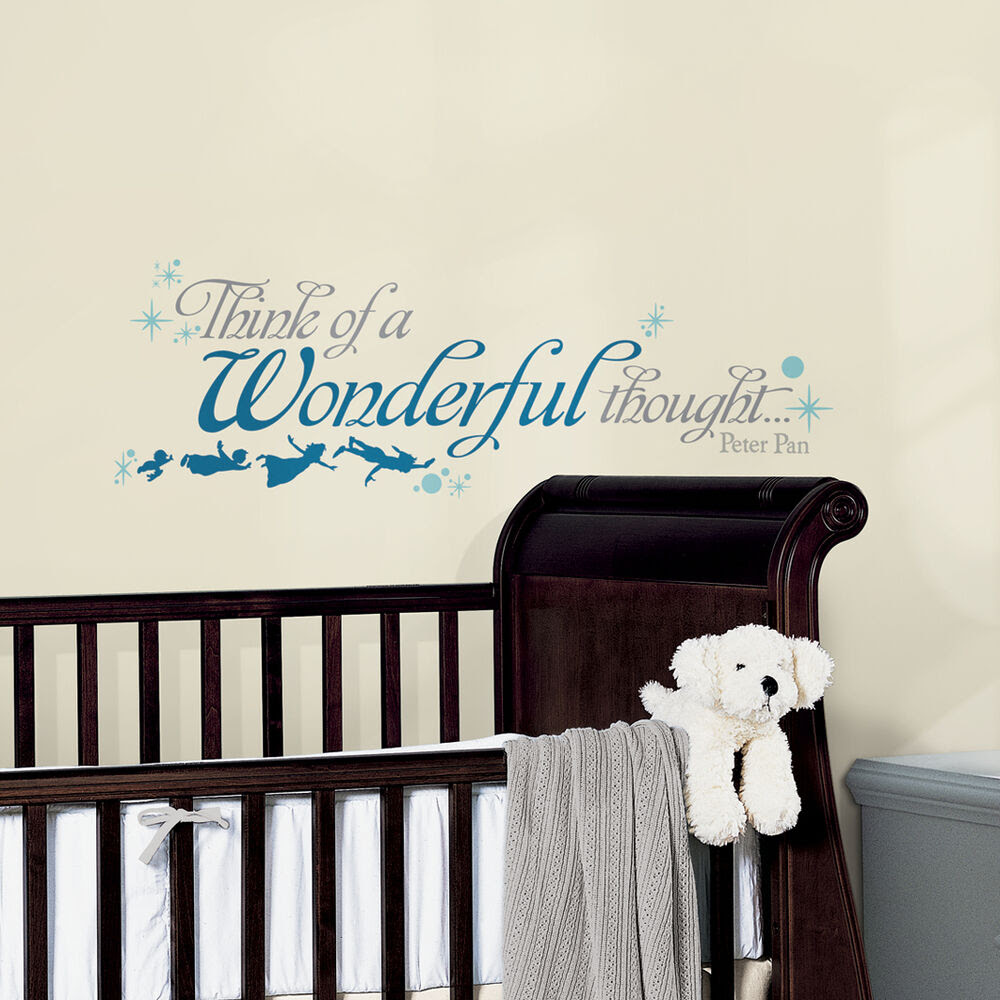 New Peter Pan Quote THINK A WONDERFUL THOUGHT WALL DECALS Disney Stickers Decor  eBay