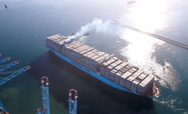 Triple-E nearly fully loaded. Photo courtesy Maersk Line