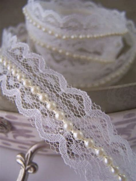 Ivory Lace And Pearl Beaded Trimming Ribbon. Vintage