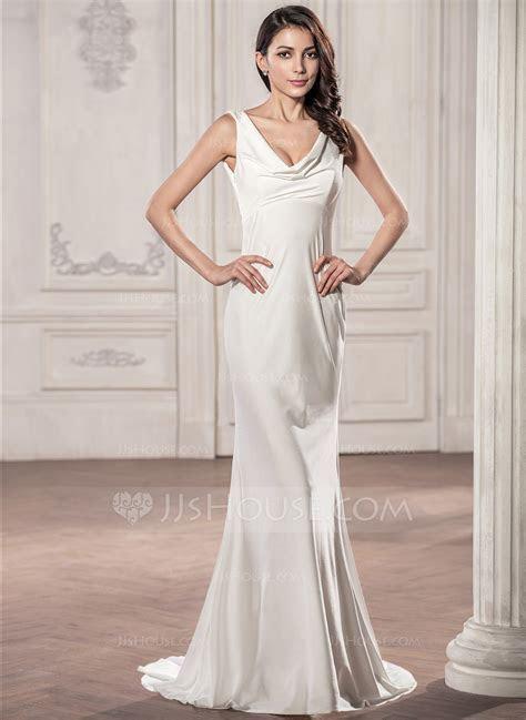 Trumpet/Mermaid Cowl Neck Sweep Train Jersey Wedding Dress