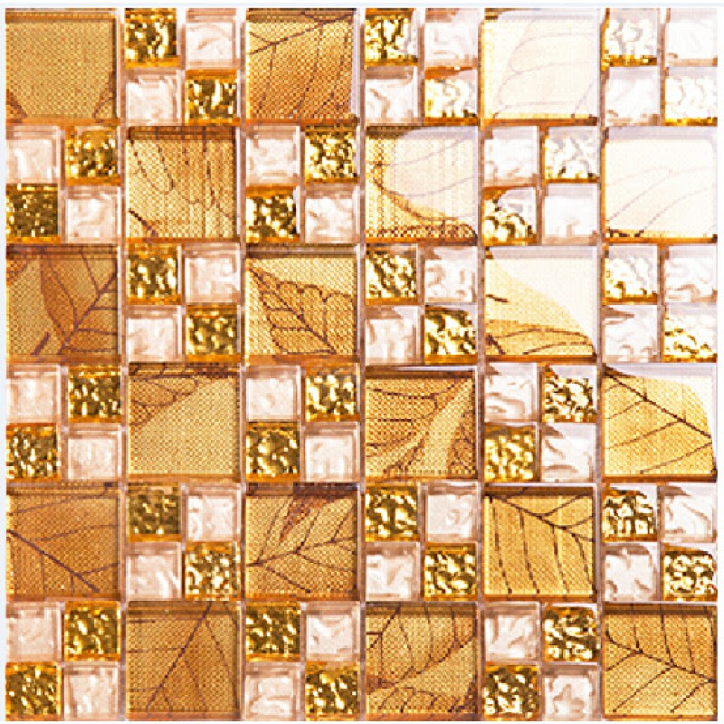 Gold Tile Backsplash Ideas Bathroom Crystal Glass Mosaic ...