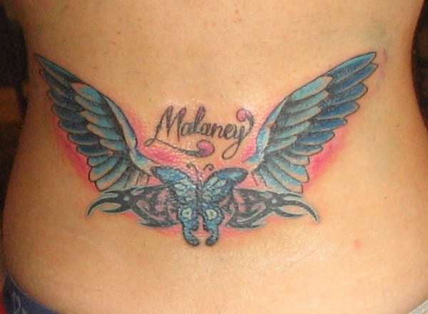 Butterfly Angel Wings Daughters Name Tribal Tattoo